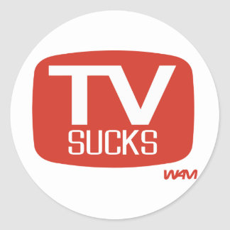 LA TV CHUPA PEGATINA REDONDA