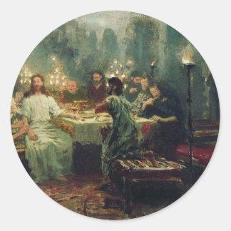 La última cena de Ilya Repin Pegatina Redonda