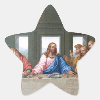 La última cena de Leonardo da Vinci Pegatina En Forma De Estrella