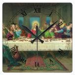 La última cena de Leonardo da Vinci Reloj Cuadrado