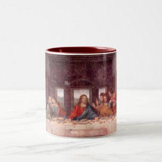 La última cena de Leonardo da Vinci, renacimiento Taza De Café De Dos Colores