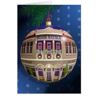 La Un Ornamento di Buon Natale-Azul Tarjeta De Felicitación