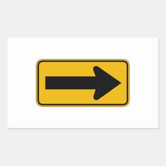 La una derecha de la flecha de la dirección, pegatina rectangular