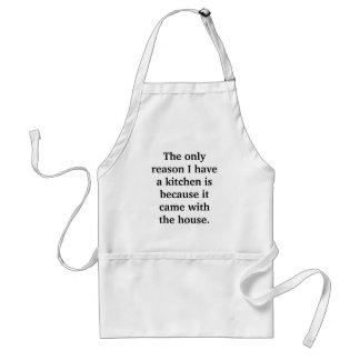 La única razón que tengo una cocina es porque él… delantal