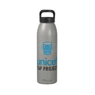 La Unicef golpea ligeramente el logotipo apilado p Botella De Agua Reutilizable