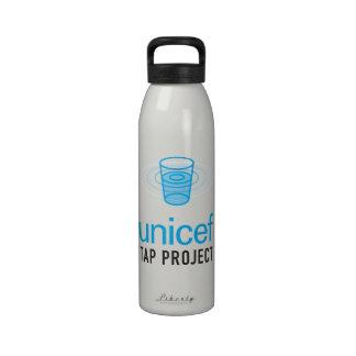 La Unicef golpea ligeramente el logotipo apilado p Botella De Agua
