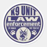La unidad K9 en perros confiamos en el azul Etiquetas Redondas