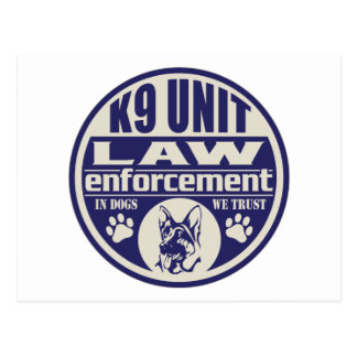 La unidad K9 en perros confiamos en el azul Tarjeta Postal