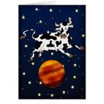 La vaca apunta más arriba, tarjeta de felicitación