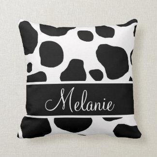 La vaca blanca negra personalizada mancha la cojín