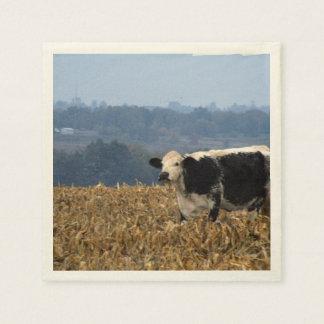 La vaca blanco y negro pasta en campo servilleta desechable