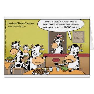 La vaca come las tazas y las tarjetas divertidas d