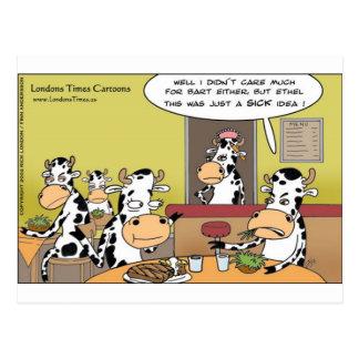 La vaca come las tazas y las tarjetas divertidas d tarjetas postales
