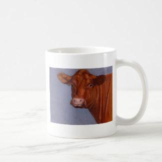 La vaca de Hereford, engrasa la pintura en colores Taza Básica Blanca