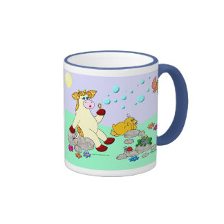 """La vaca del acebo """"que mira burbujea """" taza de dos colores"""