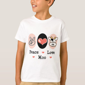 La vaca del MOO del amor de la paz embroma la Remeras
