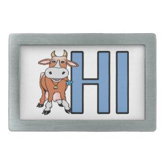 La vaca dice hola hebilla cinturón rectangular