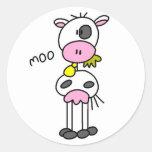 La vaca dice las camisetas y los regalos del MOO Pegatina Redonda