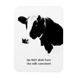 La vaca dice no bebe del envase imanes de vinilo