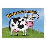 La vaca divertida de MooooChas Gracias le agradece Tarjeta De Felicitación
