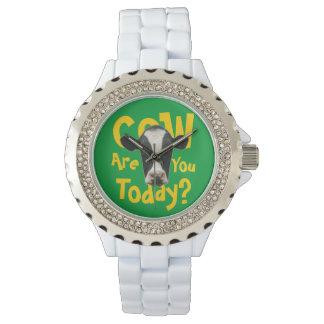 La vaca es usted hoy lema divertido reloj de mano