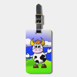 La vaca está aquí etiquetas maletas