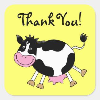 La vaca linda del dibujo animado le agradece calcomanía cuadradas personalizada