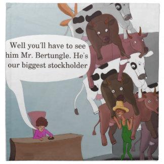 La vaca más grande del accionista divertida servilletas imprimidas