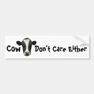 La vaca no cuida a cualquier pegatina para el para pegatina de parachoque