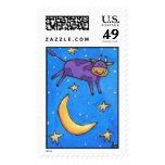 La vaca púrpura saltó sobre la luna - sello