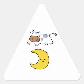 la vaca que salta sobre la luna pegatina triangular