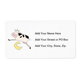 La vaca salta sobre la luna etiquetas de envío