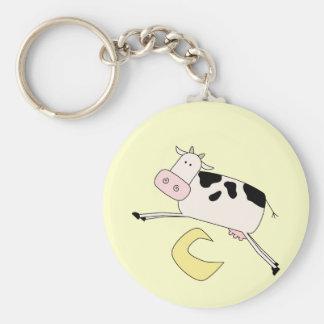 La vaca salta sobre las camisetas y los regalos de llaveros