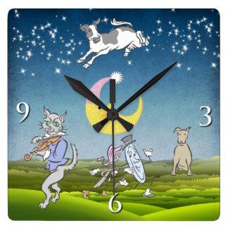 La vaca saltada sobre el reloj de pared de la luna