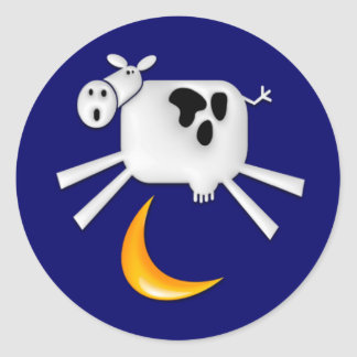 La vaca saltada sobre la luna pegatina redonda