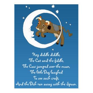 La vaca saltada sobre la luna tarjeta postal