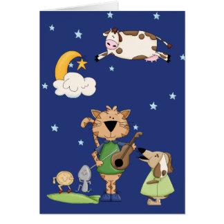 La vaca saltada sobre la tarjeta de la luna