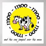 La vaca saltó sobre la luna - impresión poster