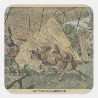 La vaca y el aeroplano pegatina cuadrada