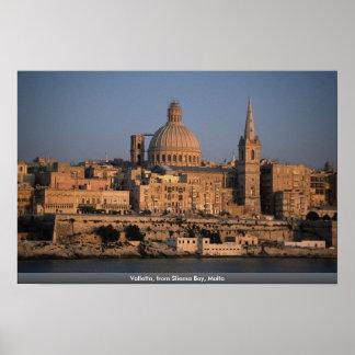 La Valeta, de la bahía de Sliema, Malta Póster