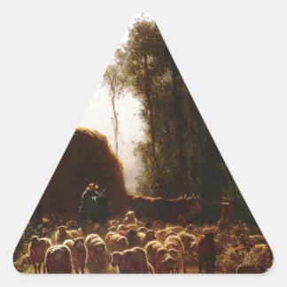 La Vallee por Troyon constante Pegatina Triangular