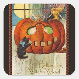 La vara Halloween de la bruja Calcomanías Cuadradass Personalizadas