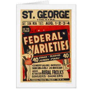 La variedad federal actúa WPA 1937 Tarjetón