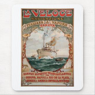 La Veloce Steam Ship Poster Mouse Pad