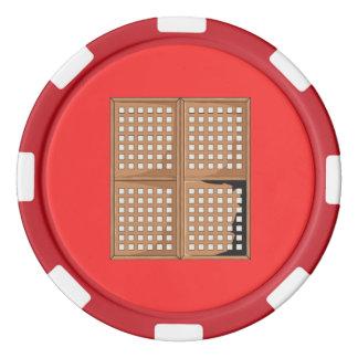 La ventana antigua de encargo de Capiz Shell Fichas De Póquer