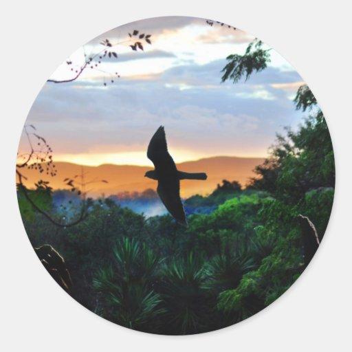 La ventana de dios con el pájaro en vuelo pegatina redonda