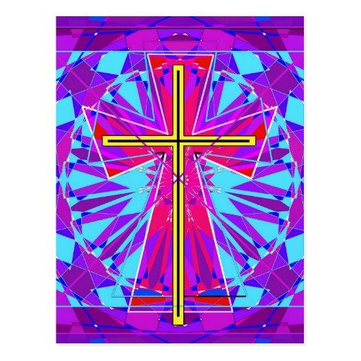 La ventana de vitral cristiana tarjeta postal