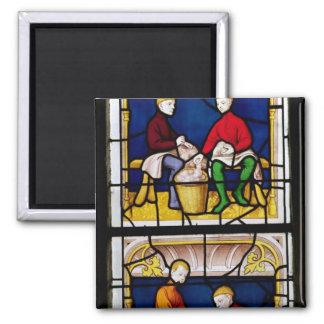 La ventana del comerciante del paño imán cuadrado
