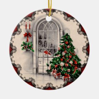 La ventana del navidad del vintage enciende el ornamento de navidad