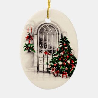La ventana del navidad del vintage enciende el orn ornamento de navidad
